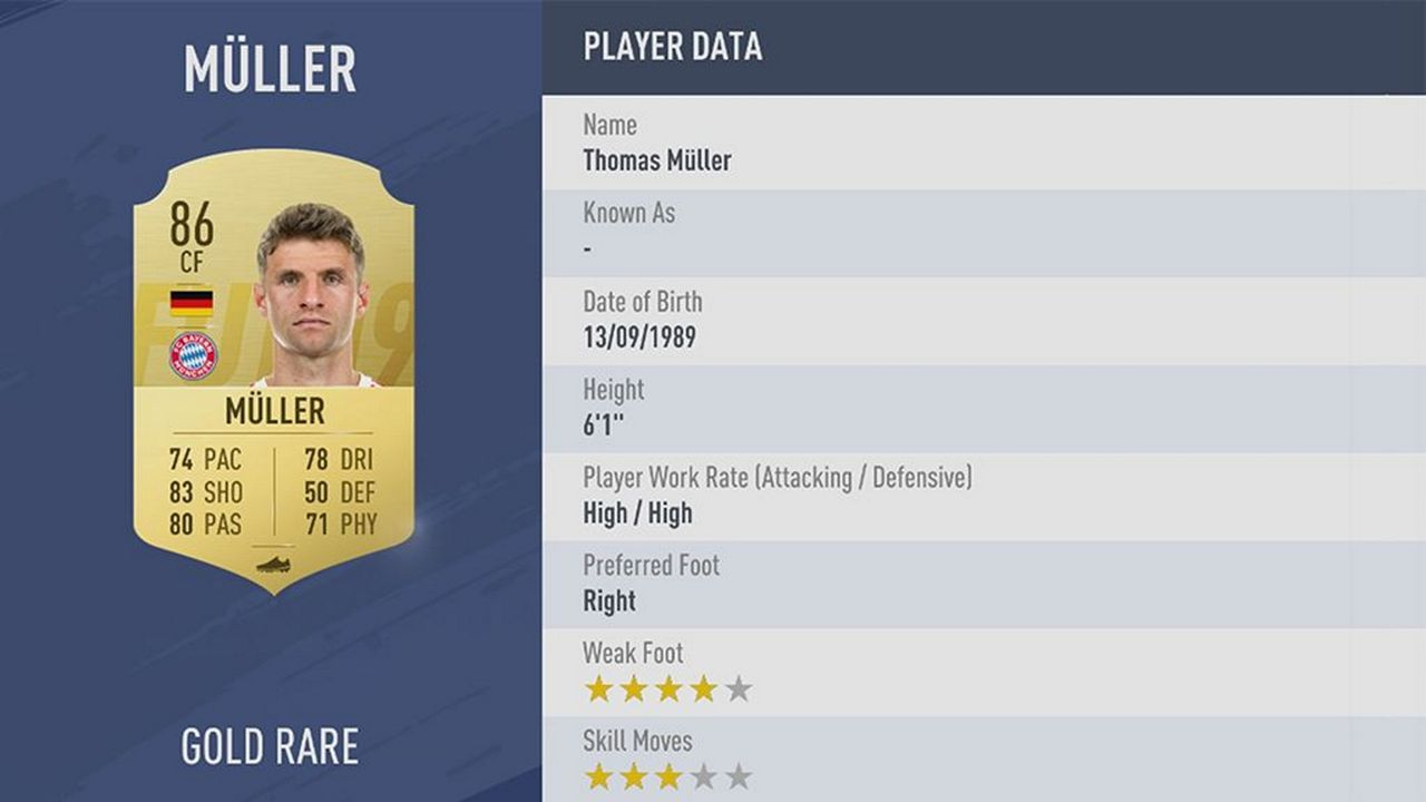 Thomas Müller - Rating: 86 - Bildquelle: EA Sports