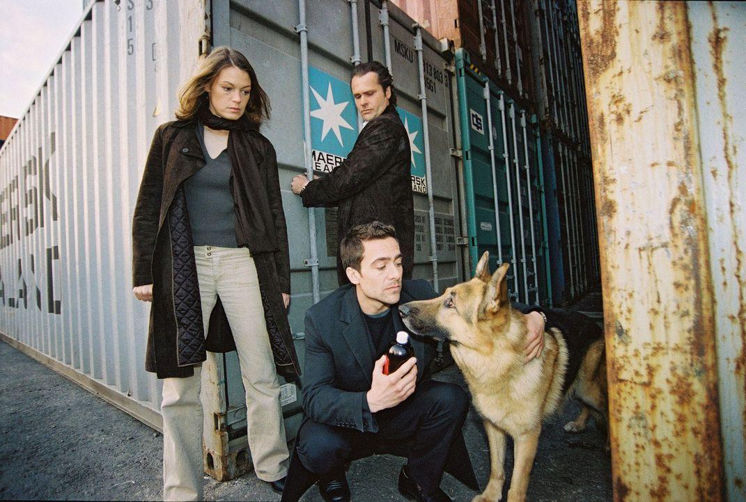 Ende gut, alles gut: Marc (Alexander Pschill, vorne) und Niki (Elke Winkens, l.) bedanken sich bei Rex, der den Verdächtigen Possling (Christoph Ga... - Bildquelle: Sat.1