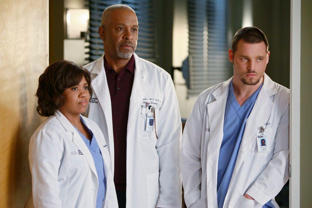 Machen sich Sorgen um Izzie: Bailey (Chandra Wilson, l.), Webber (James Pickens Jr., M.) und Alex (Justin Chambers, r.) ... - Bildquelle: Touchstone Television