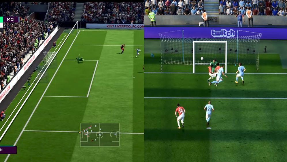 So sieht das aus, wenn jemand in FIFA an der Torgröße herumspielt - Bildquelle: https://www.youtube.com/watch?v=3I7EpwJmrlU