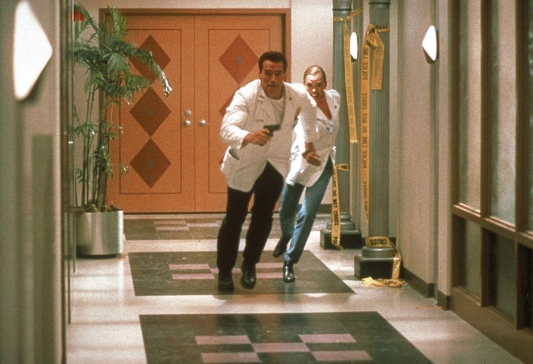 Ihnen bleibt nur noch ein einziger Ausweg: John (Arnold Schwarzenegger, l.) und Lee (Vanessa Williams, r.) müssen die Flucht nach vorn antreten ... - Bildquelle: Warner Brothers International Television Distribution Inc.