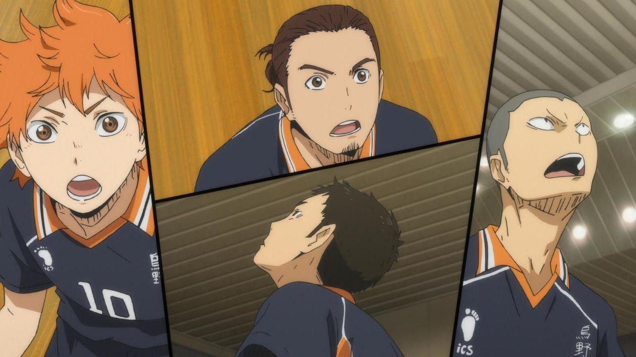 "Shoyo Hinata (l.); Asahi Azumane (M., oben); Daichi Sawamura (M., unten); Ryunosuke Tanaka (r.) - Bildquelle: H.Furudate / Shueisha,""Haikyu!!?Project, MBS"