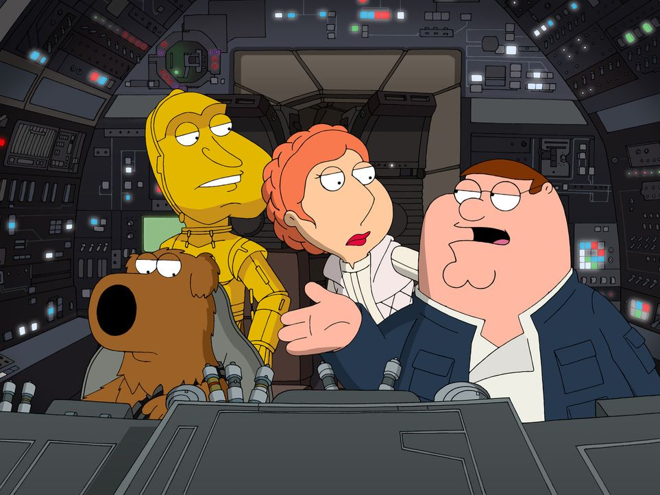 """Peter erzählt die Star Wars Saga """"Das Imperium schlägt zurück"""" à la Family Guy (v.l.n.r.): Brian als Chewbacca, Quagmire als 3CPO, Lois als Prinzess... - Bildquelle: 2007-2008 Twentieth Century Fox Film Corporation. All rights reserved."""