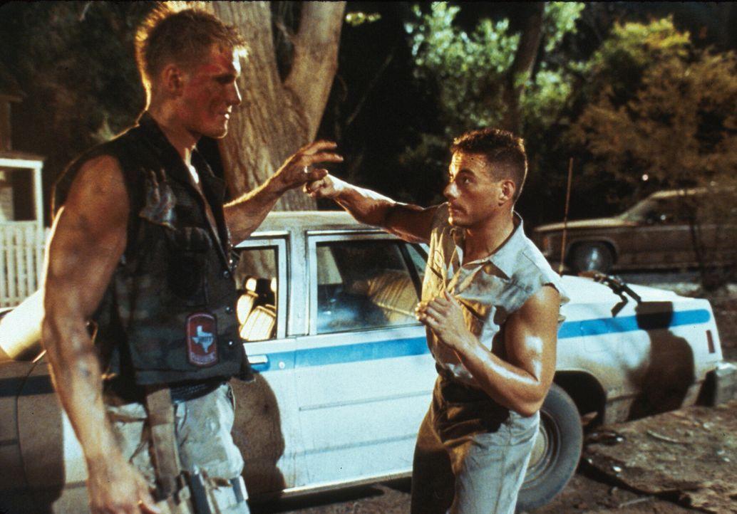 Als Luc Devreux (Jean-Claude Van Damme, r.) und sein Kollege Andrew (Dolph Lundgren, l.) ihr Gedächtnis zurückerlangen, beginnen sie einen eiskalt... - Bildquelle: 1992 TriStar Pictures