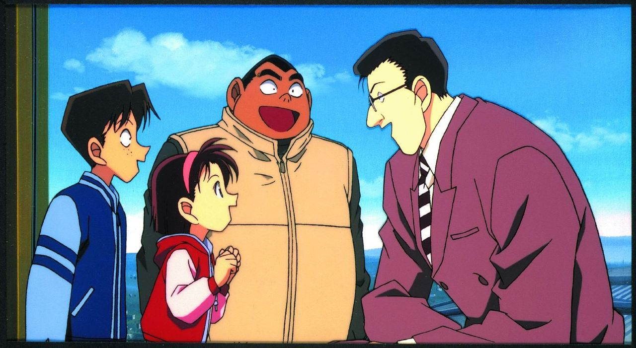 Conan, die Detective Boys Mitsuhiko (l.), George (M.) und Sonoko (2.v.l.) unternehmen gemeinsam mit Professor Hiroshi Agasa und Ai Habara einen Ausf... - Bildquelle: 2001 GOSHO AOYAMA / SHOGAKUKAN - YTV - UNIVERSAL MUSIC - ShoPro - TOHO - TMS. All Rights Reserved. Under License to VIZ Media Switzerland SA. Animat