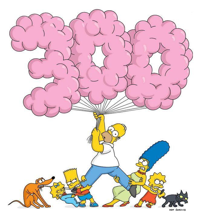 (V.l.n.r.) Jubiläum für Hund Knecht Ruprecht, Maggie, Bart, Homer, Marge, Lisa und Kater Schneeball ... - Bildquelle: TWENTIETH CENTURY FOX FILM CORPORATION