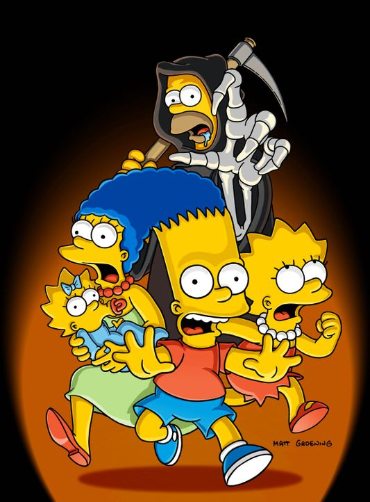 Homer (hinten) hat den Sensenmann umgebracht und muss nun in dessen Rolle schlüpfen. Sind Marge (2.v.l.), Maggie (l.), Bart (2.v.r.) und Lisa (r.)... - Bildquelle: 2003 Twentieth Century Fox Film Corporation. All rights reserved.