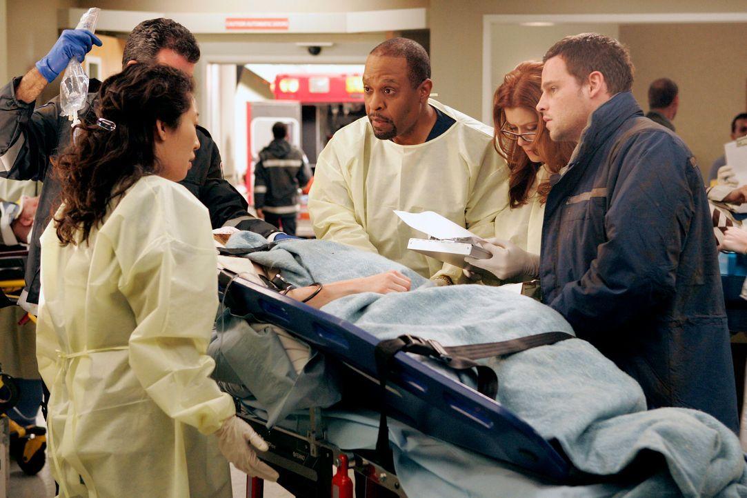 Cristina (Sandra Oh, l.), Webber (James Pickens jr., 3.v.r.), Addison (Kate Walsh, 2.v.r.) und Alex (Justin Chambers, r.) kümmern sich um die erste... - Bildquelle: Touchstone Television