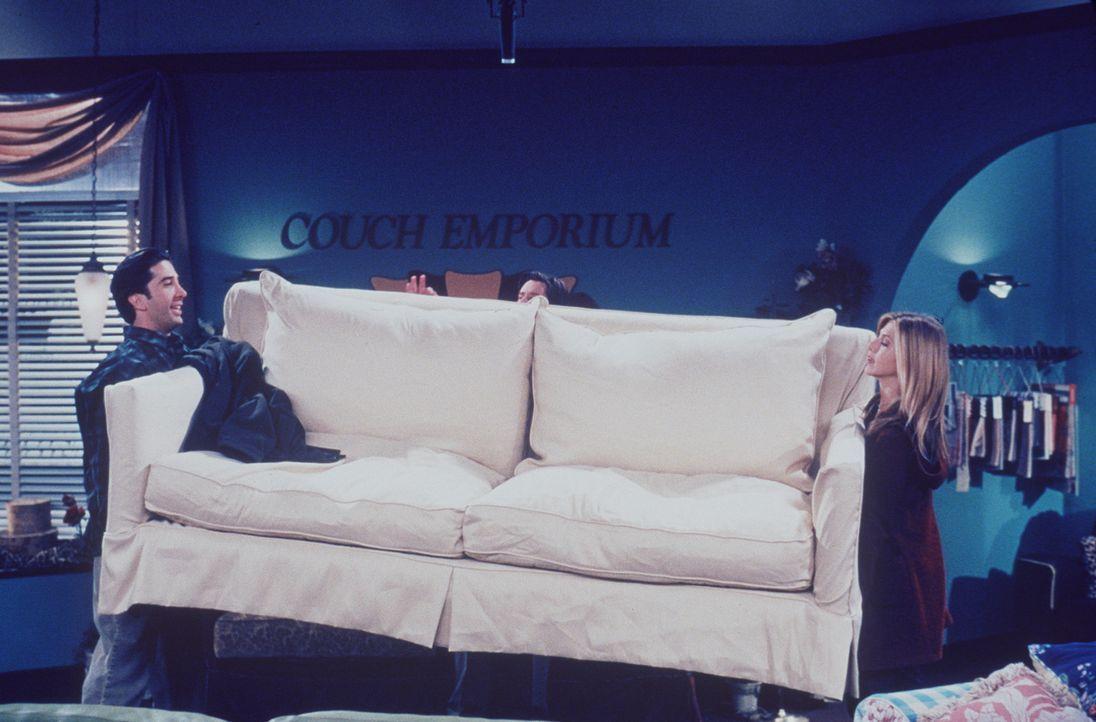 Liebenswürdigerweise hilft Rachel (Jennifer Aniston, r.) Ross (David Schwimmer, l.) beim Couchschleppen ... - Bildquelle: TM+  2000 WARNER BROS.