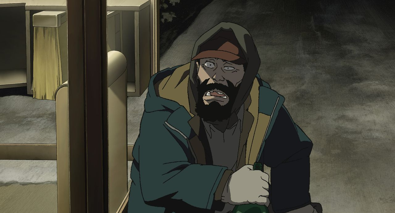 Gin lebte mit seiner Frau und seiner Tochter ein normales Leben, bis er durch seine Alkohol- und Spielsucht große Schulden machte und seine Familie... - Bildquelle: 2003 Satoshi Kon, Mad House and Tokyo Godfathers Committee. All Rights Reserved.