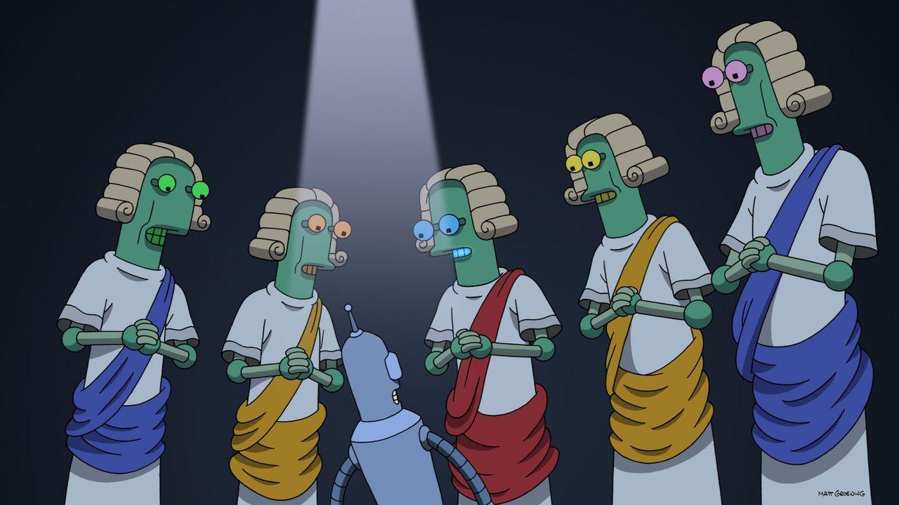 Bender (3.v.l.) steht wegen eines Verbrechens vor Gericht. Sein Anwalt greift allerdings zu einem brillanten Verteidigungskniff und somit wird er fr... - Bildquelle: Twentieth Century Fox Film Corporation. All rights reserved.