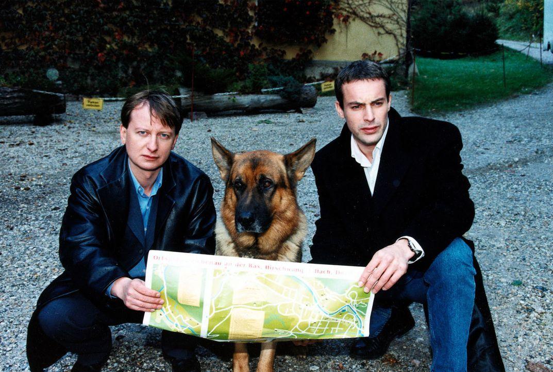 Böck (Heinz Weixelbraun, l.), Rex und Kommissar Brandtner (Gedeon Burkhard, r.) versuchen, sich auf einer Landkarte zu orientieren. - Bildquelle: Ali Schafler Sat.1