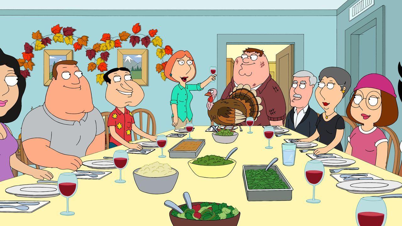 Schafft es Peter (M.), die Thanksgiving-Gäste zufrieden zu stellen? (v.l.n.r.) Joe, Quagmire, Lois, seine Schwiegereltern und Meg ... - Bildquelle: 2015-2016 Fox and its related entities. All rights reserved.