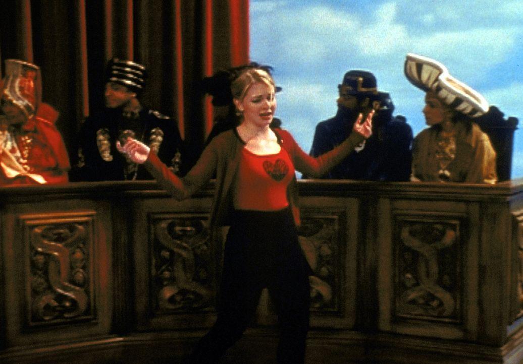 Sabrina (Melissa Joan Hart, vorne) muss vor Gericht begründen, warum sie ihren alten Quizmaster zurückhaben will ... - Bildquelle: Paramount Pictures