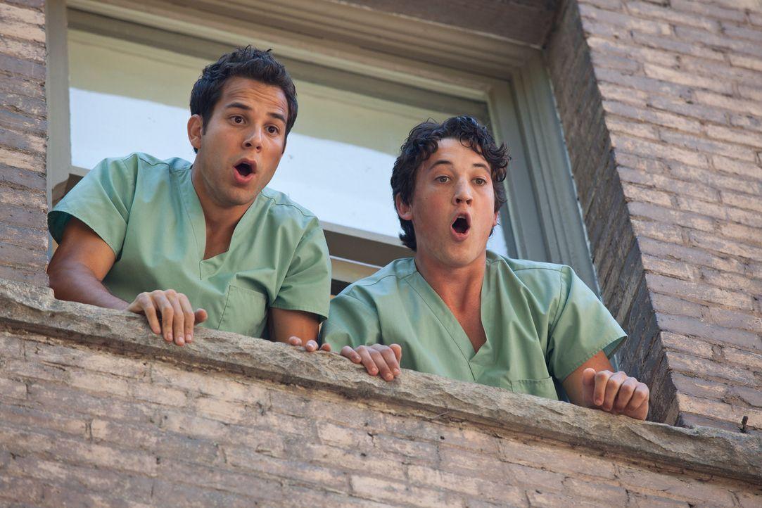 Dumm gelaufen: Casey (Skylar Astin, l.) und Miller (Miles Teller, r.) können Jeff nicht länger festhalten - und dessen Sturz aus dem Fenster ist nic... - Bildquelle: John Johnson 2011 Twenty One and Over Productions, Inc.
