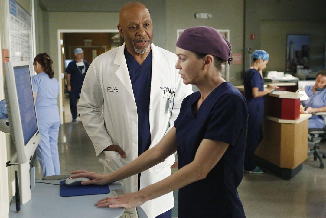 Während Meredith (Ellen Pompeo, r.) einen Babysitter sucht, trifft Richard (James Pickens Jr., l.) im Krankenhaus auf Catherine ... - Bildquelle: ABC Studios