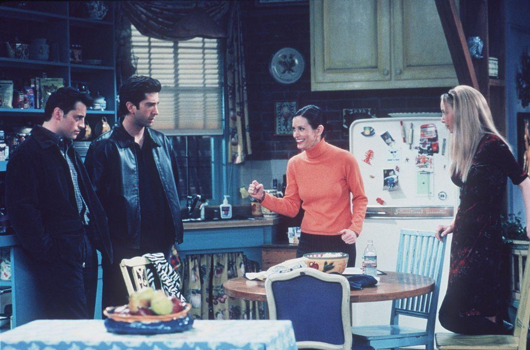 Joey (Matt LeBlanc, l.) und Ross (David Schwimmer, 2.v.l.) begreifen nicht, warum Monica (Courteney Cox, 2.v.r.) und Phoebe (Lisa Kudrow, r.) im Cli... - Bildquelle: TM+  2000 WARNER BROS.