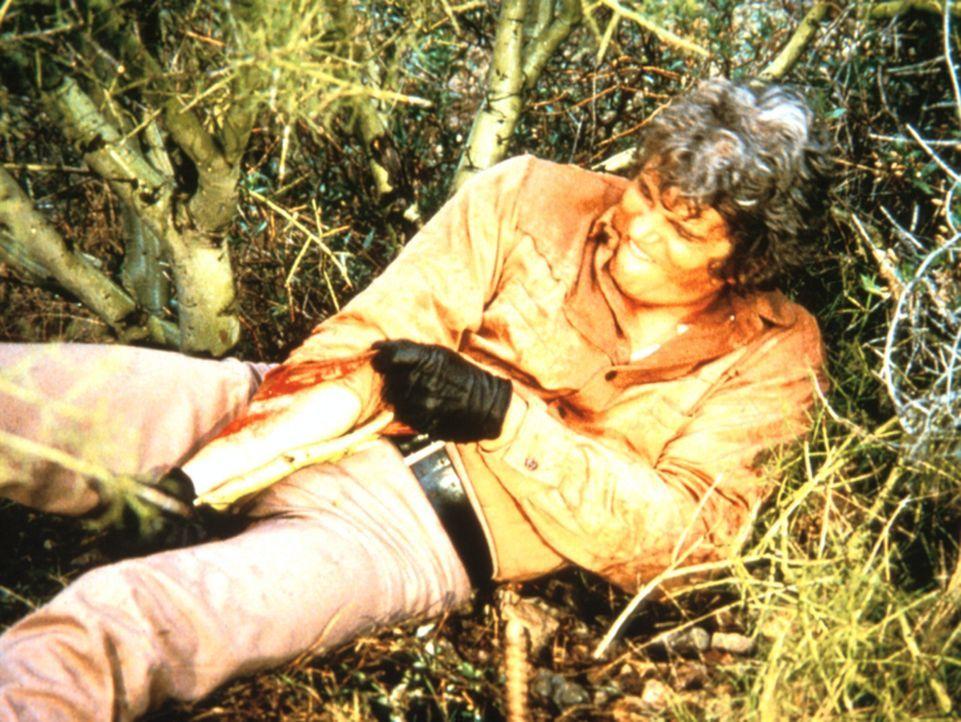 Auf der Flucht vor Tanner hat sich Little Joe (Michael Landon) den Arm gebrochen. - Bildquelle: Paramount Pictures