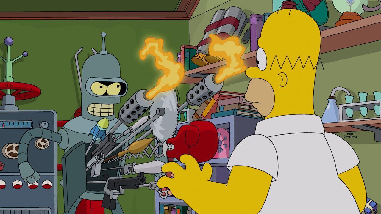 Anfangs ist Homer (r.) noch zutiefst beeindruckt von Benders (l.) technischen Spielereien ... - Bildquelle: 2014 Twentieth Century Fox Film Corporation. All rights reserved.