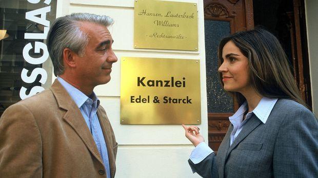 Edel & Starck - Felix (Christoph M. Ohrt, l.) lässt ein neues Kanzleischild a...