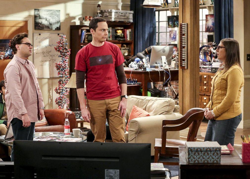 Leonard (Johnny Galecki, l.) ist geschockt, als er erfährt, dass eine Racheaktion von Sheldon (Jim Parsons, M.) sie alle um viel Geld bringen könnte... - Bildquelle: Warner Bros. Television