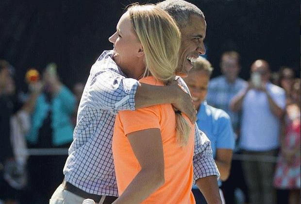 Tennis-Match im Weißen Haus: Caroline Wozniacki trifft Barack Obama - Bildquelle: Twitter / @CaroWozniacki
