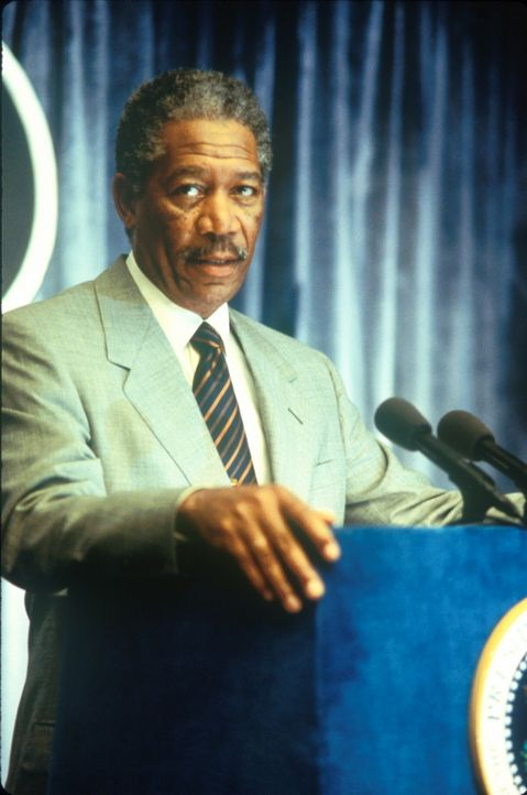 Gibt zu, die Gefahr unterschätzt zu haben: US-Präsident Tom Beck (Morgan Freeman) eröffnet der verblüfften Bevölkerung, dass ein gigantischer K... - Bildquelle: TM+  1998 DreamWorks L.L.C. and Paramount Pictures All Rights Reserved