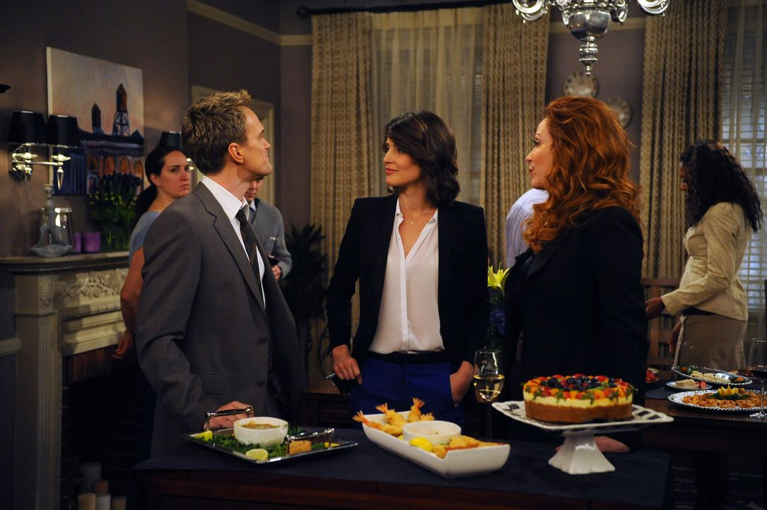 Ein Party der besonderen Art: Barney (Neil Patrick Harris, l.), Robin (Cobie Smulders, M.) und Geraldine (Rebecca Creskoff, r.) ... - Bildquelle: 20th Century Fox International Television
