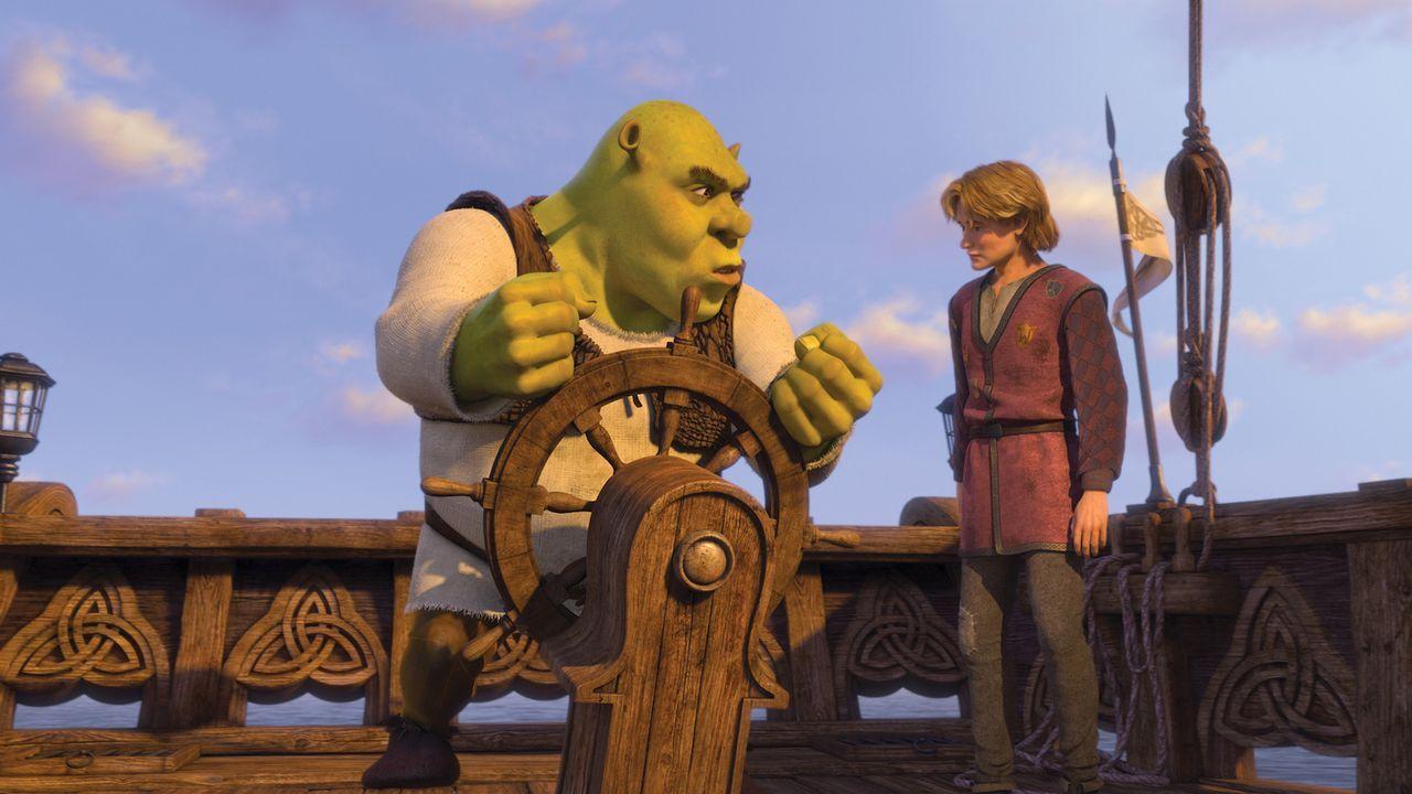 Weil der Oger Shrek (l.) keine Lust hat, seinem geliebten Sumpf den Rücken zu kehren, um ein fremdes Königreich zu regieren, gibt es für ihn nur ein... - Bildquelle: TM &   2007 Dreamworks Animation LLC