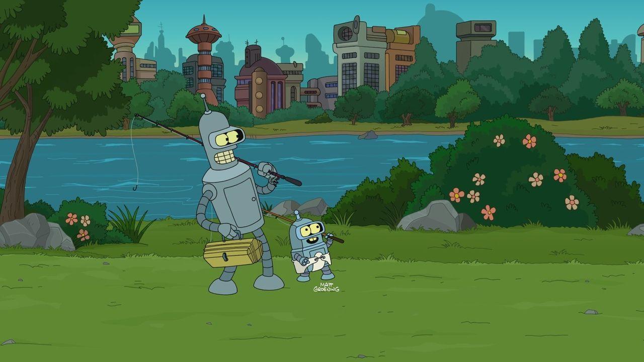 Bender (l.) gerät mit der neuesten Errungenschaft bei Planet Express, einem Getränkeautomaten namens Bev, aneinander. Doch aus einem Streit wird m... - Bildquelle: 2010 Twentieth Century Fox Film Corporation. All rights reserved.