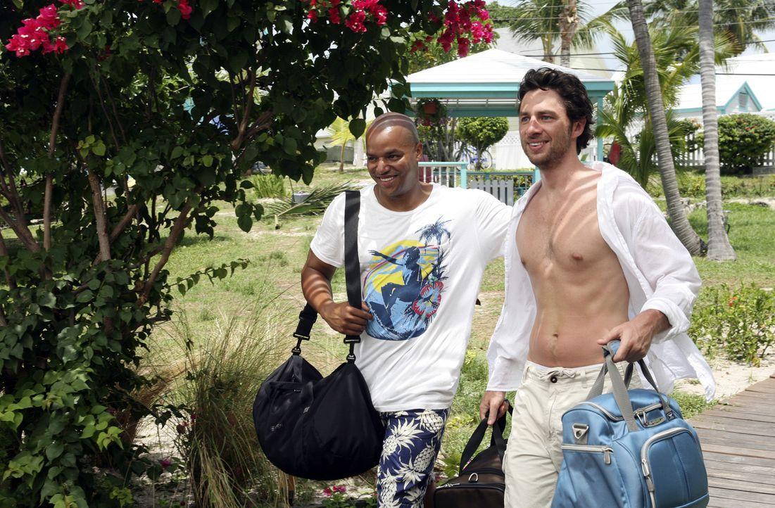 Freuen sich auf ihre bevorstehende Zeit auf den Bahamas: J.D. (Zach Braff, r.) und Turk (Donald Faison, l.) ... - Bildquelle: Touchstone Television