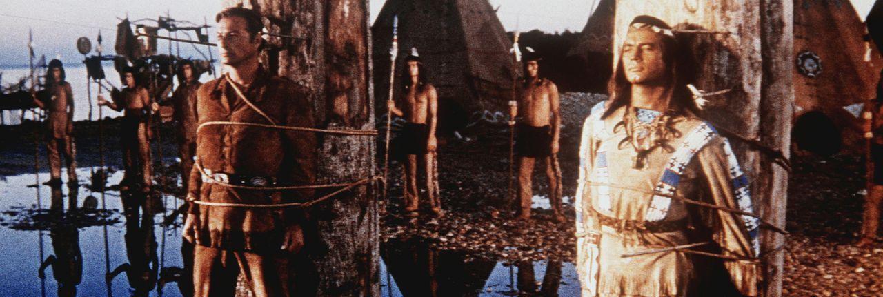 Winnetou (Pierre Brice, r.) und Old Shatterhand (Lex Barker, l.) geraten in einen Hinterhalt und sollen am Marterpfahl  sterben ... - Bildquelle: Columbia Pictures