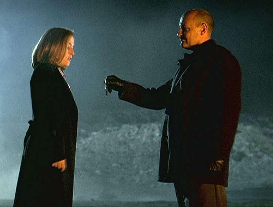 Scully (Gillian Anderson, l.) willigt in ein Treffen mit dem Schattenmann (Terrance Quinn, r.) ein. Bei diesem Treffen erfährt sie, dass der Schatte... - Bildquelle: TM +   Twentieth Century Fox Film Corporation. All Rights Reserved.