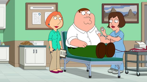 Immer nur angeben ist nicht drin: Lois (l.) schafft es, Peter (M.) dazu zu br...