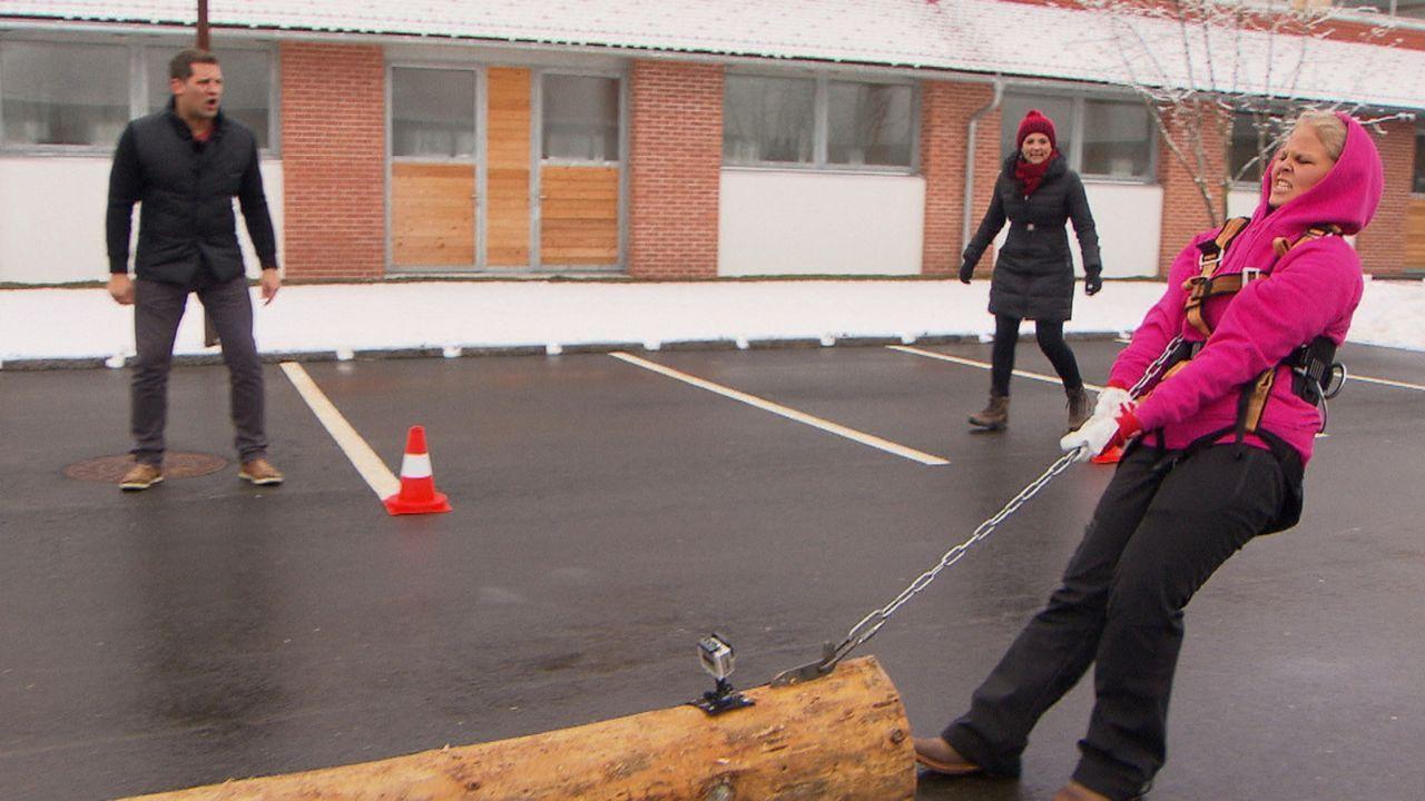 Angefeuert von Silke Kayadelen (M.) und Ramin Abtin (l.) versucht Nicole (r.) das schier Unmögliche ... - Bildquelle: SAT.1
