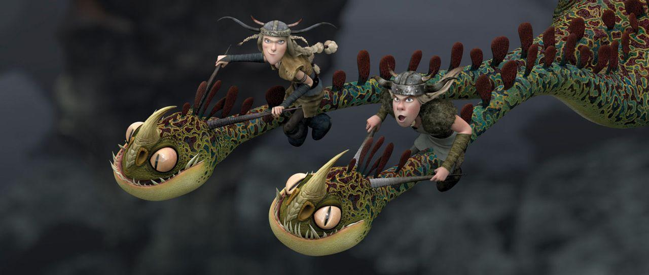Teamwork: Nach anfänglichen Misstrauen schließen sich die Zwillinge Raffnuss (l.) und Taffnuss (r.) mit dem zweiköpfigen Drachen zusammen, um gem... - Bildquelle: 2012 by DreamWorks Animation LLC. All rights reserved.