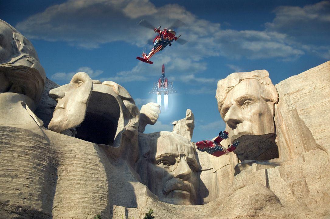 Schon während der fröhlichen Siegesfeier des World Team America im Inneren des Mount Rushmore erfolgt der Gegenschlag der Terroristen: Attentäter au... - Bildquelle: Paramount Pictures