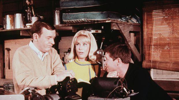 Jeannie (Barbara Eden, M.) beobachtet die Arbeit von Roger (Bill Daily, l.) u...