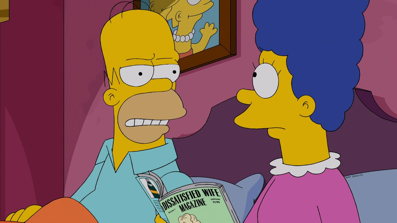 Marge (r.) macht sich Gedanken über Lisa, weil sie sich in einen dümmlichen, dicken Jungen verknallt hat, der überhaupt nicht zu ihr passt. Als sie... - Bildquelle: 2013 Twentieth Century Fox Film Corporation. All rights reserved.