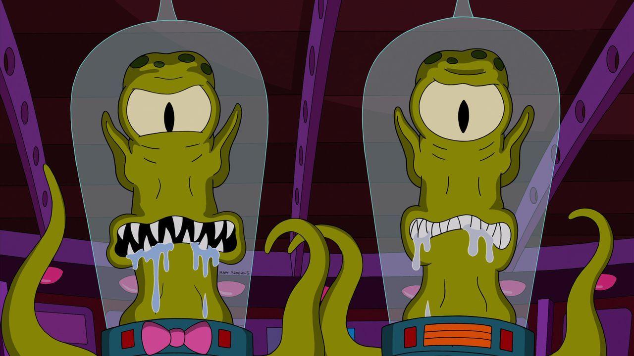 Durch ein falsches Fahrgeschäft locken Kang und Kodos die Simpsons in eine Falle .. - Bildquelle: 2014 Twentieth Century Fox Film Corporation. All rights reserved.