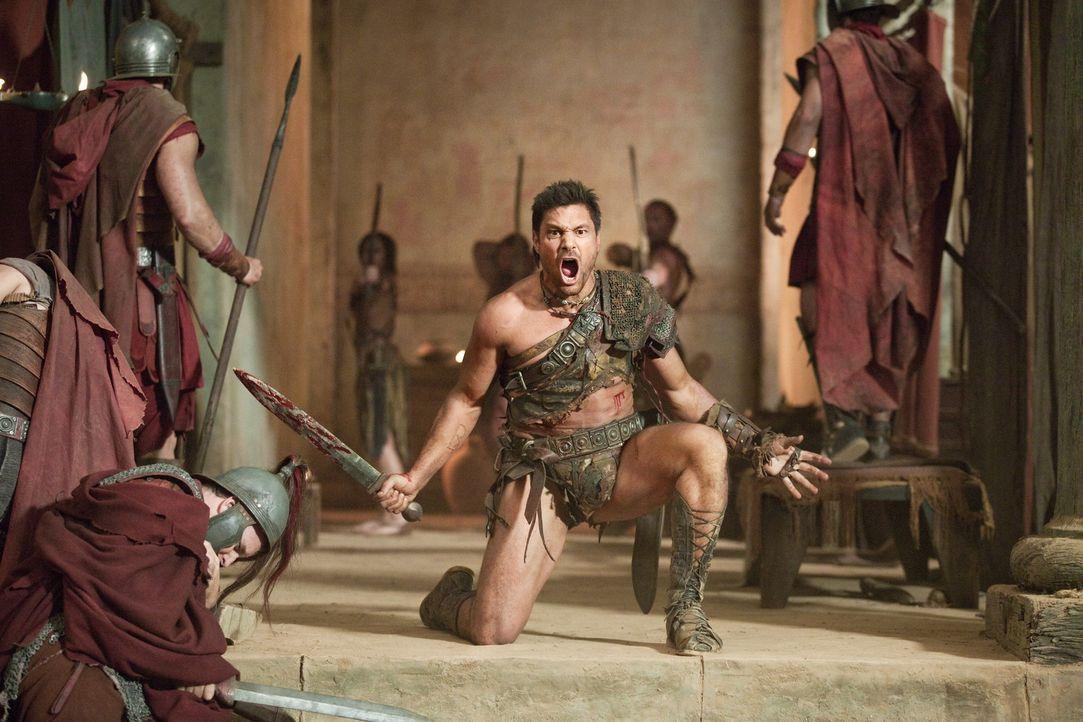 Rache für die Sklaverei und alles, was die Römer Naevia angetan haben: Crixus (Manu Bennett) ... - Bildquelle: 2011 Starz Entertainment, LLC. All rights reserved.