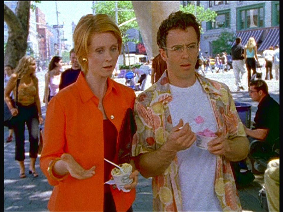 Steve (David Eigenberg, r.) erfährt von Miranda (Cynthia Nixon), dass er Vater wird. - Bildquelle: Paramount Pictures
