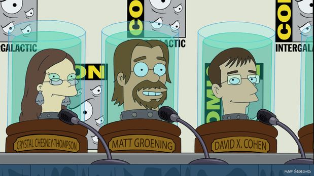 Futurama - Welche Rolle spielen Crystal Chesney-Thompson (l.), Matt Groening...