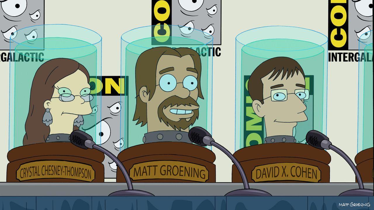 Welche Rolle spielen Crystal Chesney-Thompson (l.), Matt Groening (M.) und David X. Cohen (r.) bei der Rettung der Welt? - Bildquelle: 2003 Twentieth Century Fox Film Corporation. All rights reserved.