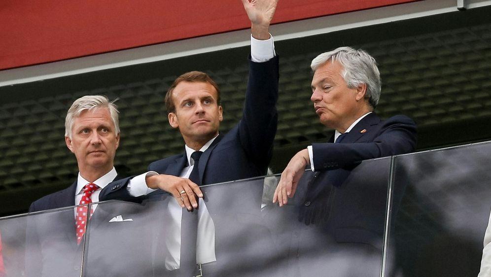 Macron (Mitte) wird auch das WM-Finale vor Ort verfolgen - Bildquelle: PIXATHLONPIXATHLONSID