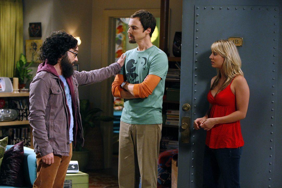 Sheldon (Jim Parsons, M.) ist entsetzt, als er von Leonard (Johnny Galecki, l.) erfährt, dass seine vermeintlich bahnbrechende physikalische Entdec... - Bildquelle: Warner Bros. Television