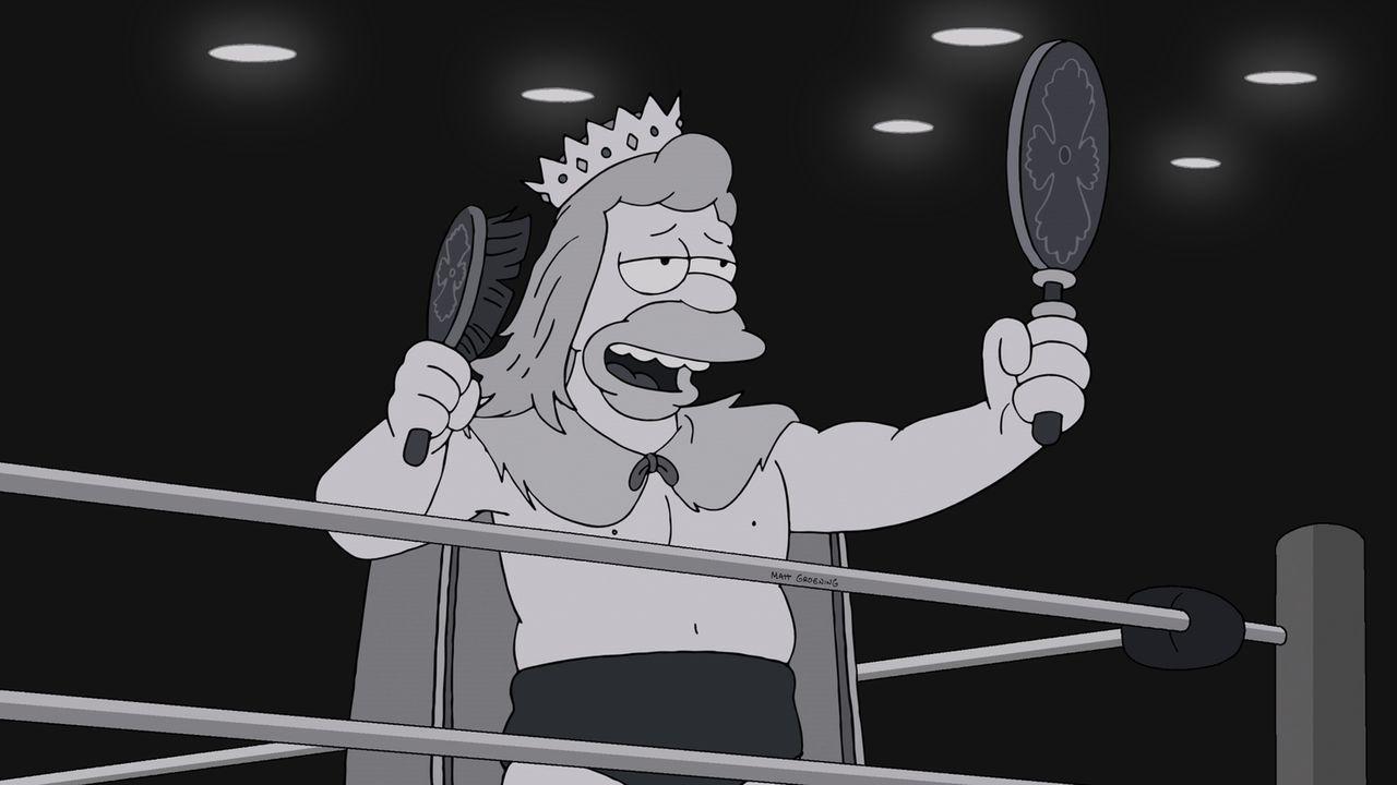 """Durch eine TV-Sendung entdecken die Simpsons die ehemalige Identität von Grandpa als """"Gorgeous Godfrey"""", der gefürchtetste, bösartigste Mann in der... - Bildquelle: und TM Twentieth Century Fox Film Corporation - Alle Rechte vorbehalten"""