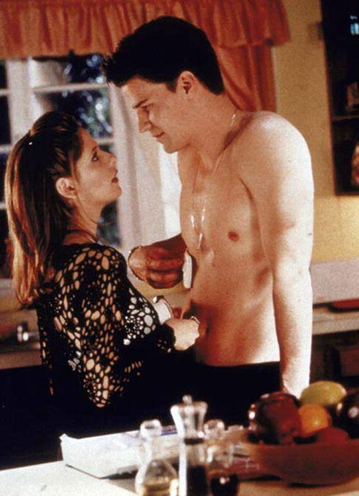 Angel (David Boreanaz, r.) hat Buffy (Sarah Michelle Gellar) aus den Fängen des berüchtigten Vampirkriegers gerettet. - Bildquelle: TM +   2000 Twentieth Century Fox Film Corporation. All Rights Reserved.