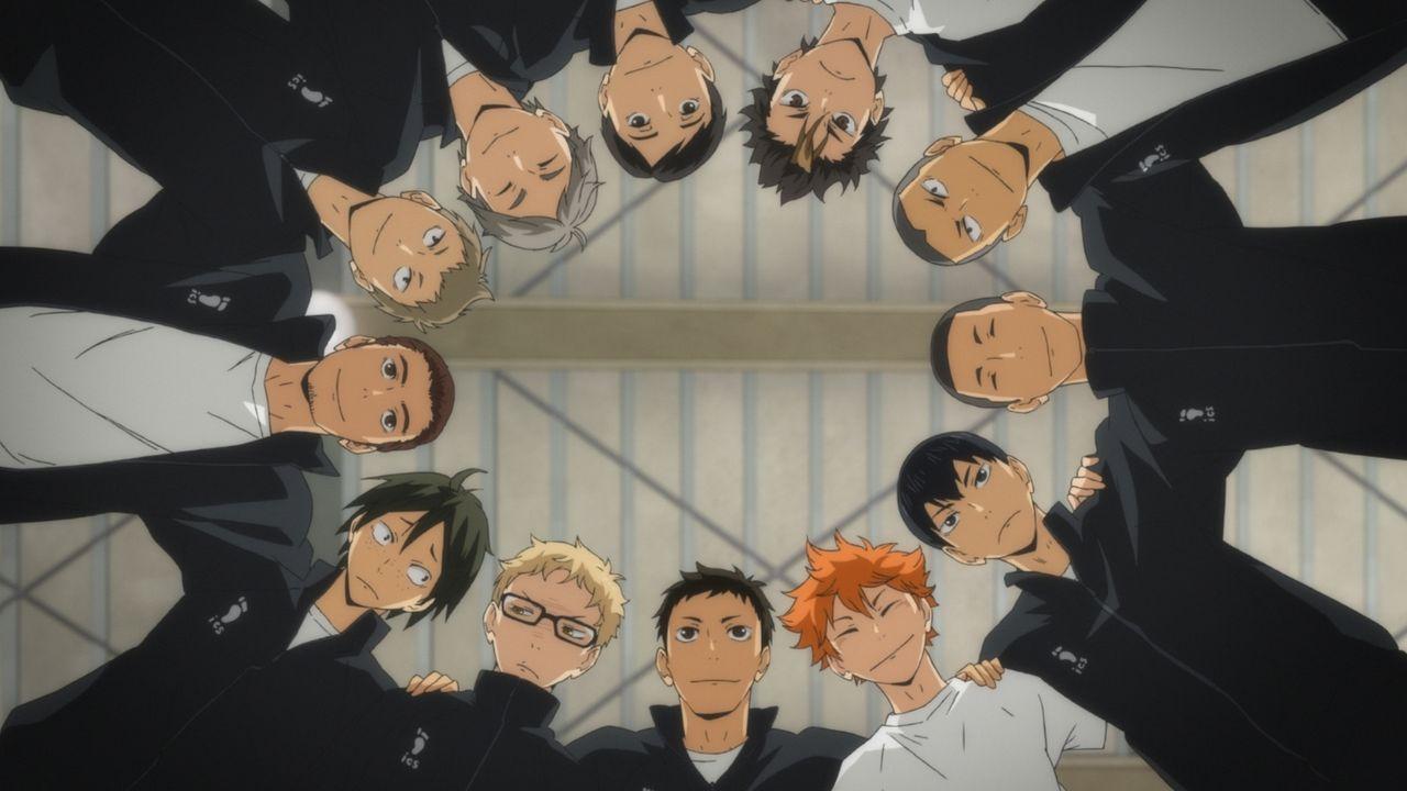 """(v.l., im Uhrzeigersinn) Asahi Azumane; Hisashi Kinoshita; Koshi Sugawara; Chikara Ennoshita; Yu Nishinoya; Ryunosuke Tanaka; Kazuhito Narita; Tobio... - Bildquelle: H.Furudate / Shueisha,""""Haikyu!!?Project,MBS"""