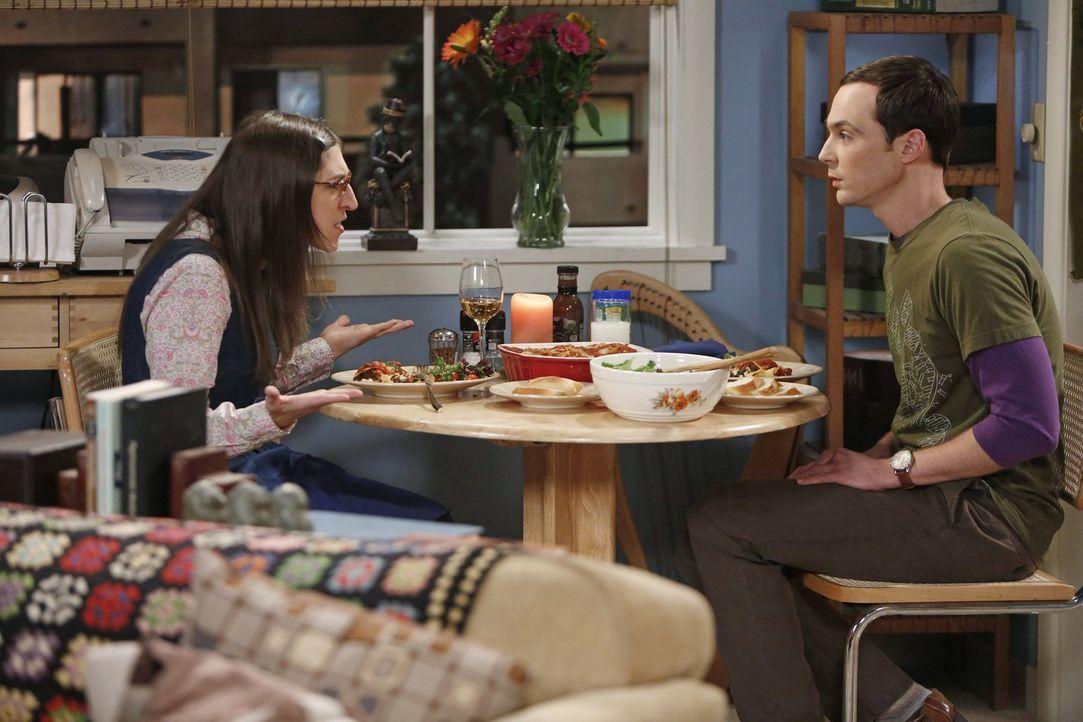 Geraten in einen handfesten Streit: Sheldon (Jim Parsons, r.) und Amy (Mayim Bialik, l.) ... - Bildquelle: Warner Brothers